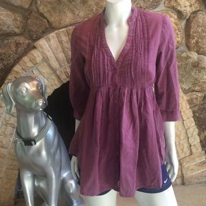 Urban Outfitters Button Down Pleated Tunic Top